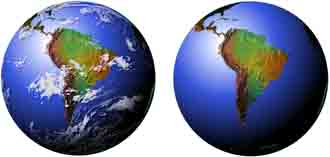 Globe views of the Earth from many strategic points